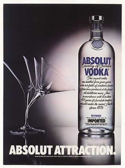 Absolut Attraction Vodka Bottle Bending Glass (1984)