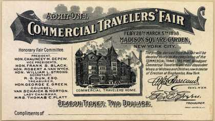 Commercial Travelers' Fair – Admit One. (1898)