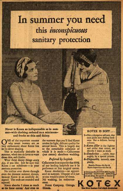 Kotex Company's Sanitary Napkins – In summer you need this inconspicuous sanitary protection (1930)
