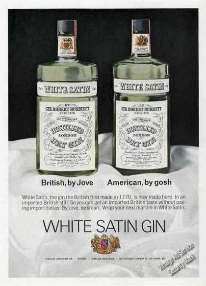 White Satin British Gin Now Made In America (1970)