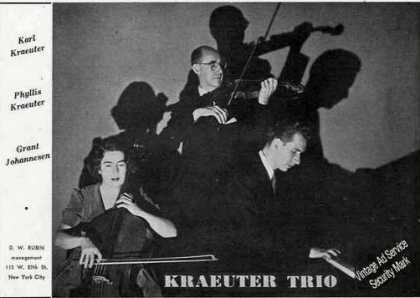 Kraeuter Trio Photo Music Booking (1949)