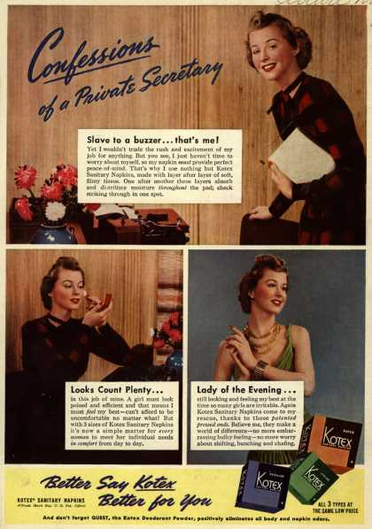 Kotex Company's Sanitary Napkins – Confessions of a Private Secretary (1939)