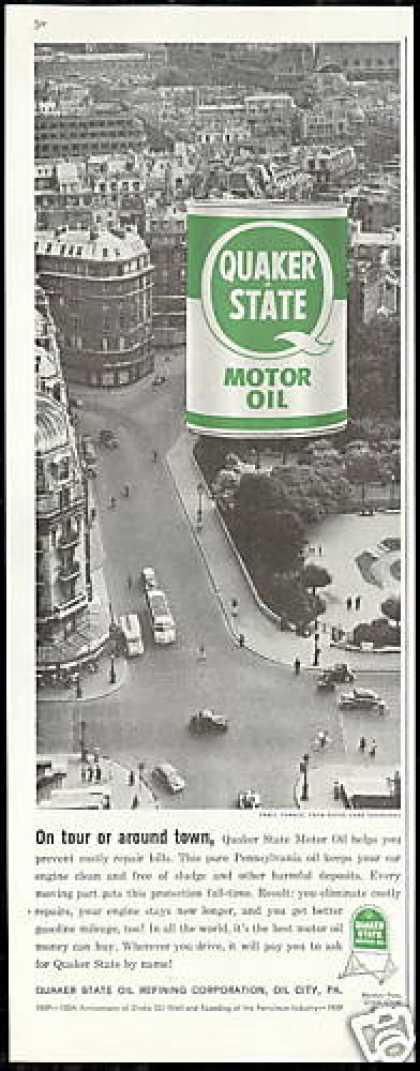 Paris France Photo Quaker State Oil Vintage (1959)