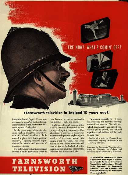 "Farnsworth Television and Radio Corporation's Television – ""Ere Now! What's Comin' Off? (Farnsworth television in England 10 years ago) (1944)"