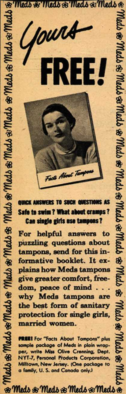 Personal Products Corporation's Meds Tampons – Yours Free (1952)