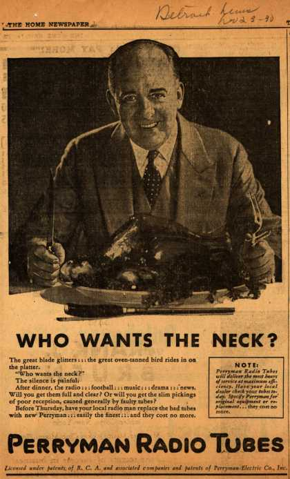 Perryman Radio Tube's Radio Tubes – Who Wants the Neck? (1930)