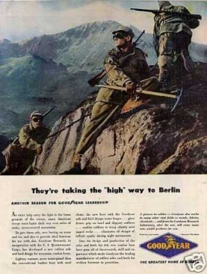 """Goodyear Ad """"They're Taking the High Way... (1944)"""