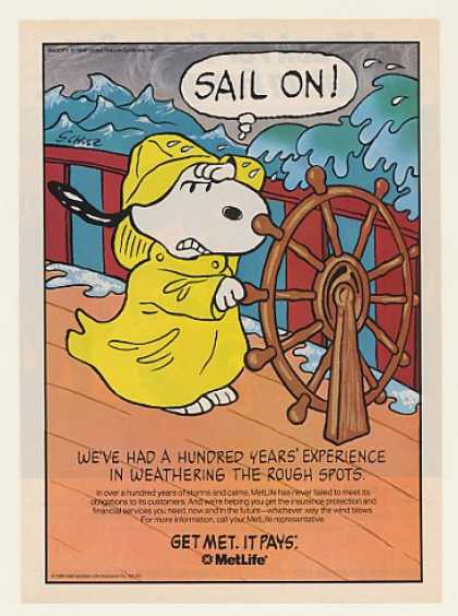 Peanuts Snoopy Sail Ship Bad Weather Met Life (1991)