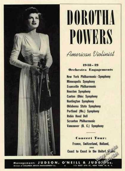 Dorotha Powers Photo American Violinist (1949)