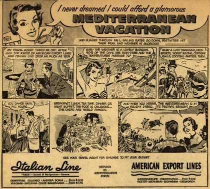 American Export Line's Europe – I never dreamed I could afford a glamorous Mediterranean Vacation (1954)