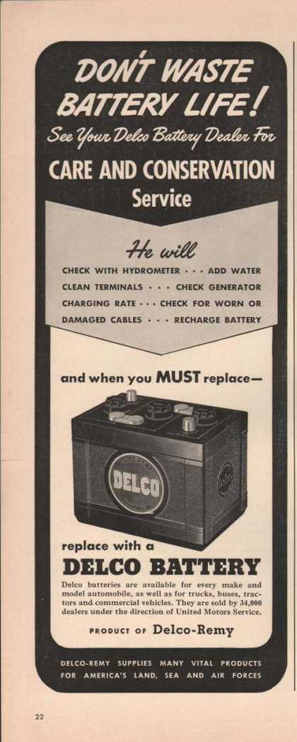 Delco Remy Car Battery Don't Waste (1942)