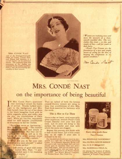 Pond's Extract Co.'s Pond's Cold Cream and Vanishing Cream – Mrs. Conde Nast on the importance of being beautiful (1925)