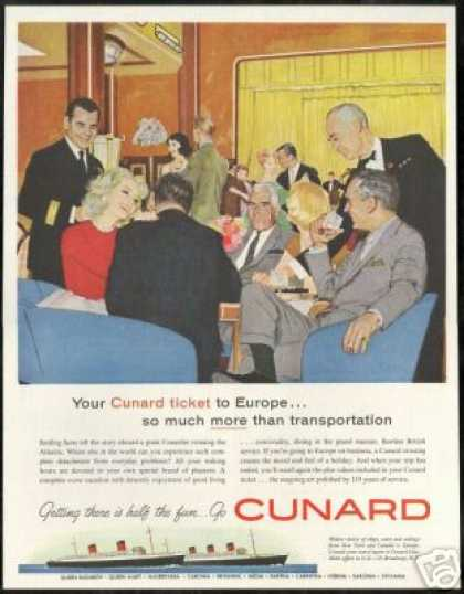 Cunard Cruise Line Ship Atlantic Crossing Art (1960)