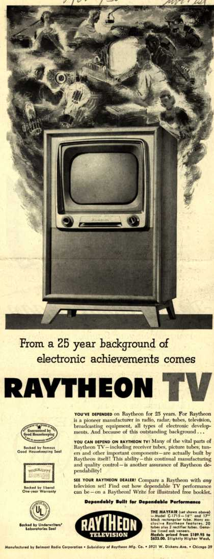 Raytheon Manufacturing Company's Television – From a 25 year background of electronic achievements comes Raytheon TV (1950)