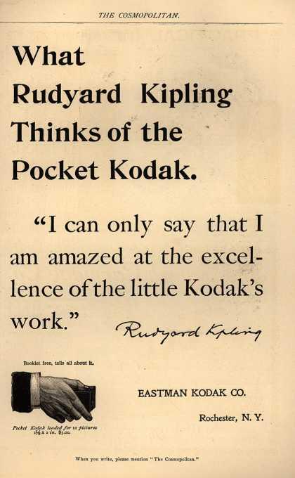 Kodak – What Rudyard Kipling Thinks of the Pocket Kodak.