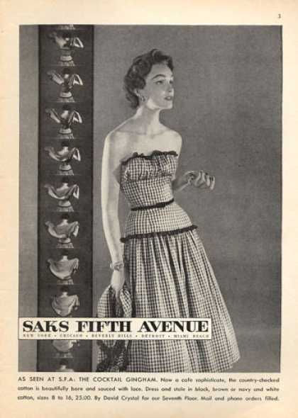 Saks Fifth Ave. Cocktail Gingham Dress Cyrstal (1953)