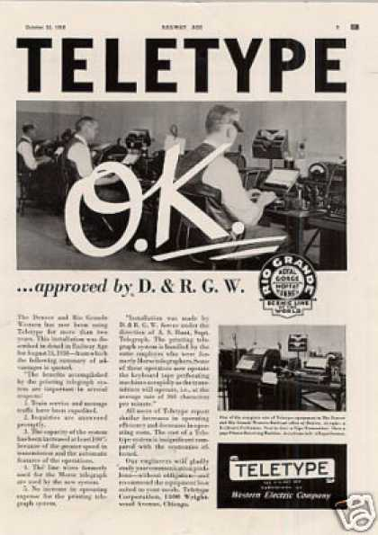 Teletype Ad D.& R.g.w. (1938)