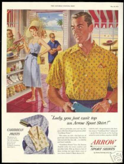Caribbean Arrow Shirts Woman Hat Shopping Art (1954)