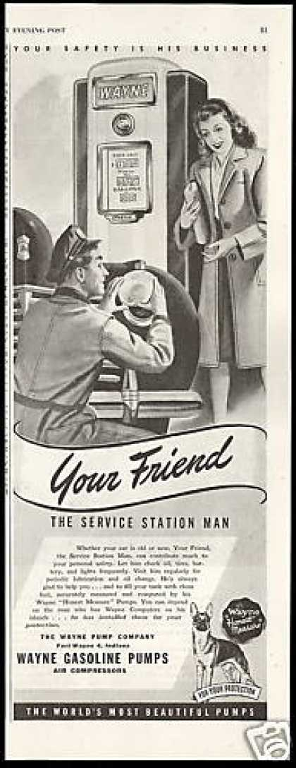 Wayne Gasoline Pumps Service Station Man (1946)