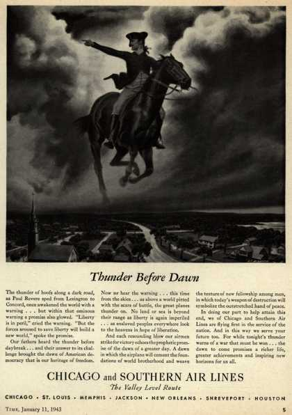 Chicago and Southern Air Line's war support – Thunder Before Dawn (1943)