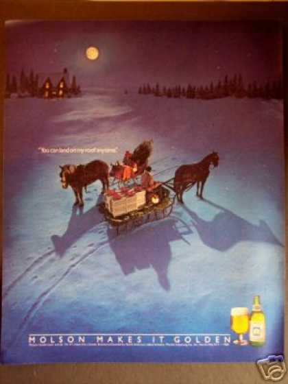 Moon Horse & Sleigh Art Molson Golden Beer Ale (1985)