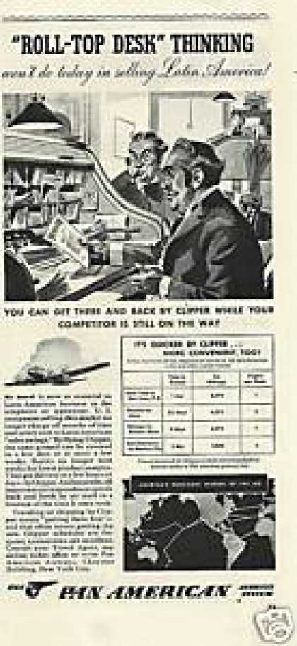 Pan American Quicker By Clipper Airplane (1941)
