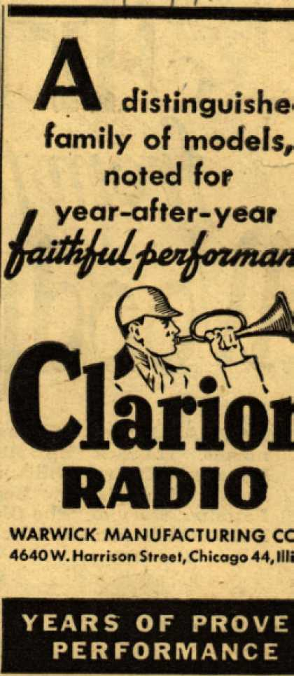 Clarion Radio's Radio – A distinguished family of models noted for year after year faithful performance (1946)