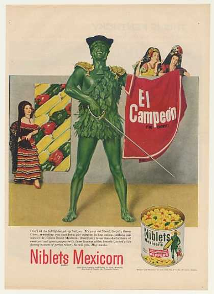 Jolly Green Giant Bullfighter Niblets Mexicorn (1952)