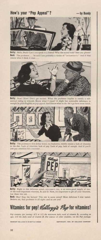 Pep Appeal Kelloggs Pep Cereal (1941)