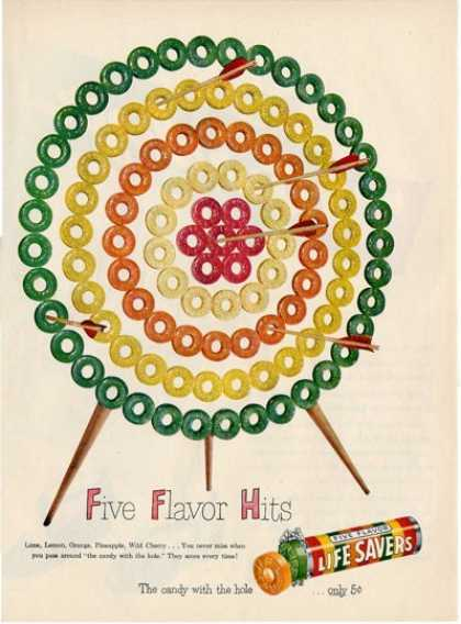 Life Savers Candy Archery Bow Arrow Ad T (1949)