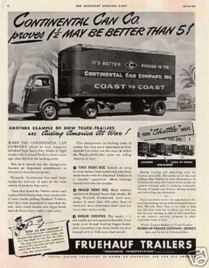 Fruehauf Tailers Ad Continental Can (1942)