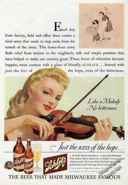"Schlitz Beer ""Like a Melody"" Ad Violinist Art (1943)"