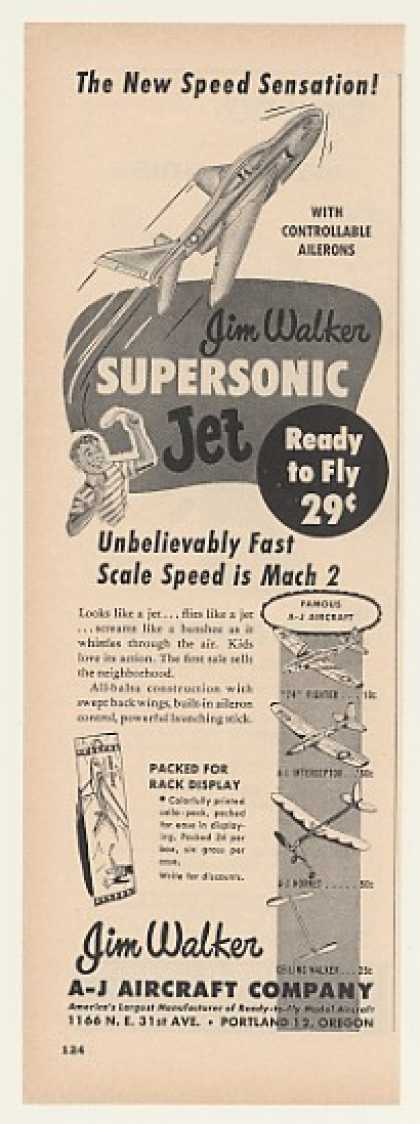 '54 A-J Aircraft Jim Walker Supersonic Jet Toy Trade (1954)