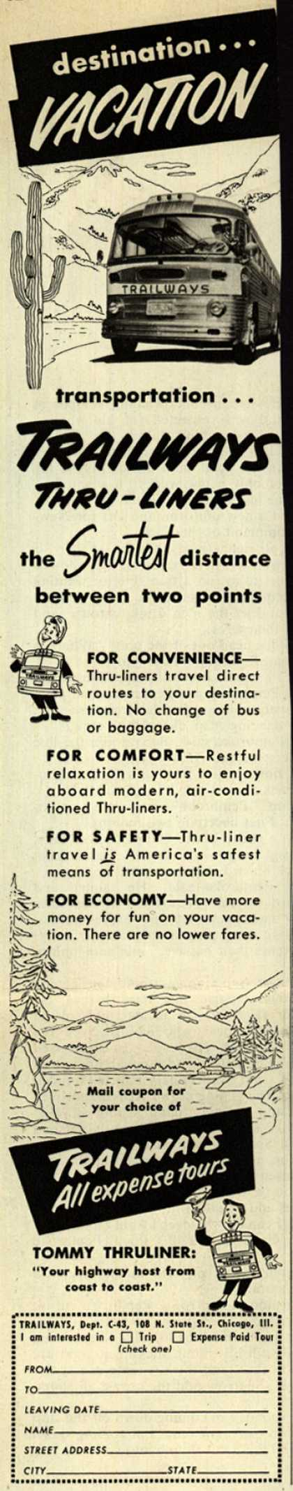 National Trailways Bus System's Thru-Liners – destination... Vacation (1953)