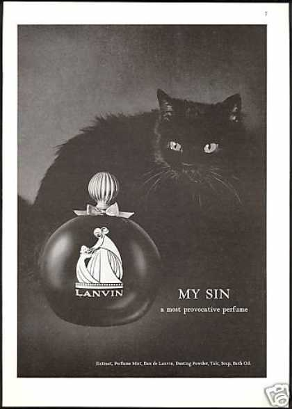 Lanvin My Sin Perfume Bottle Black Cat Photo (1968)