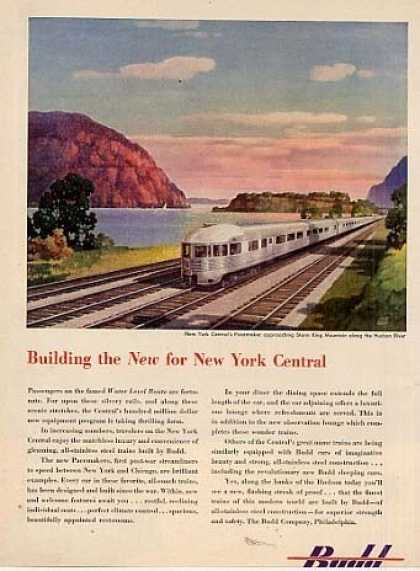 Budd Ad New York Central Obs/leslie Ragan Art (1948)
