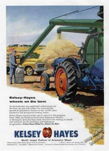 Ford Tractor Art Kelsey Hayes Wheels On Farm (1955)