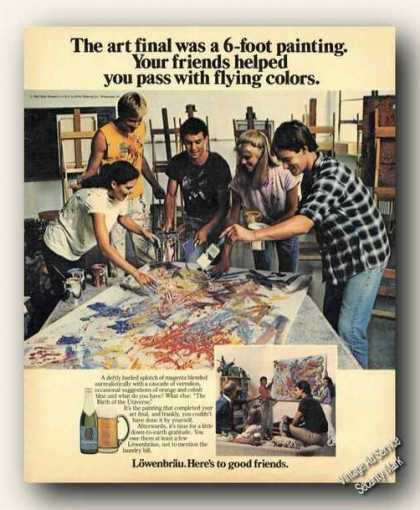 Lowenbrau 6' Painting Friends Helping Beer Promo (1983)