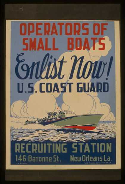Operators of small boats enlist now! U.S. Coast Guard / T.A. Byrne. (1941)