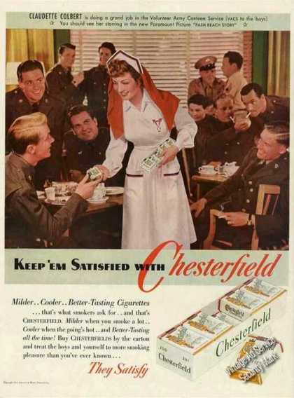 Claudette Colbert Handing Out Chesterfield Wwii (1942)