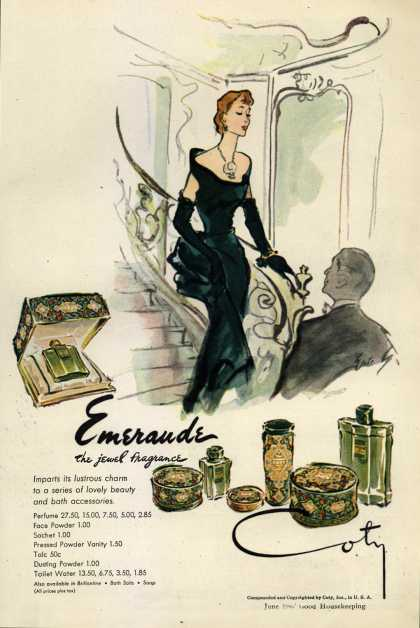 Coty's Emeraude Cosmetics – Emeraude the jewel fragrance (1947)
