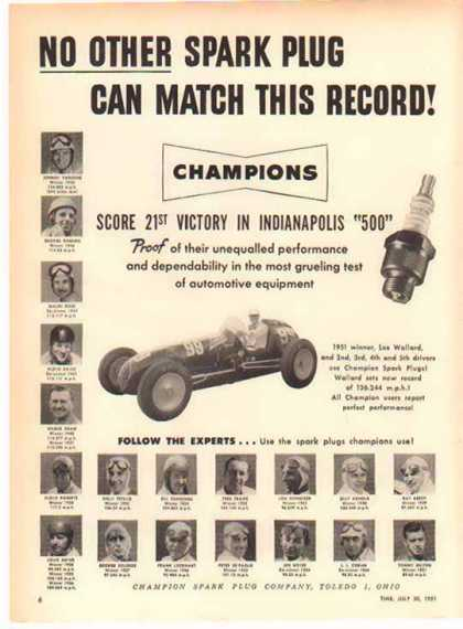 Champion Spark Plug – Indianapolis 500 Winners – Sold (1951)