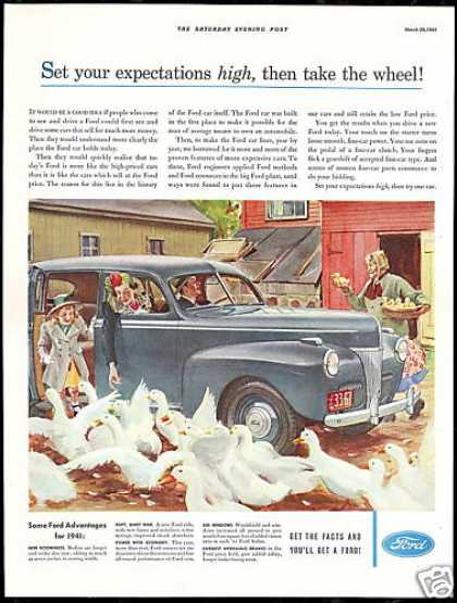Ford Four Door Sedan Geese Vintage Print Car (1941)