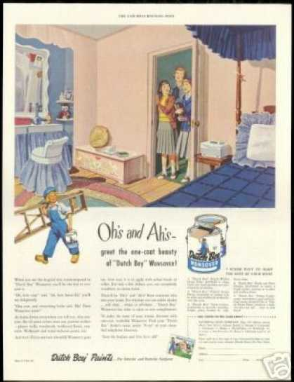 Dutch Boy Wonsover Paint Pink Bedroom (1950)