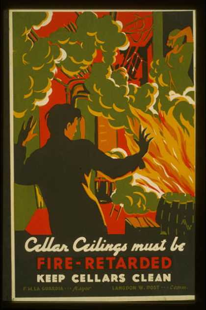 Cellar ceilings must be fire-retarded – Keep cellars clean / MW [monogram]. (1936)