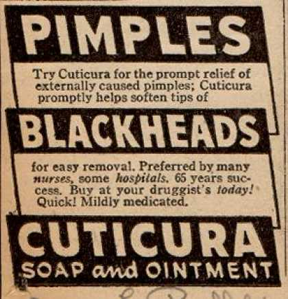 Cuticura – Pimples. Blackheads. Cuticura Soap and Ointment (1946)