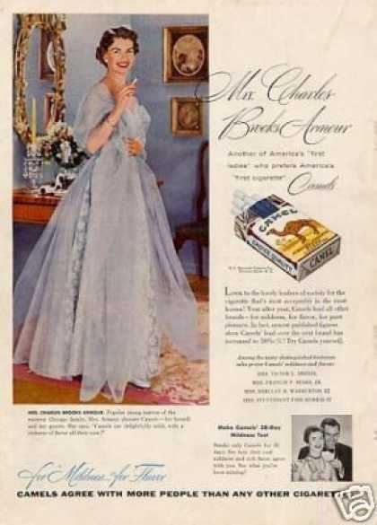 Camel Cigarettes Ad Mrs. Charles Brooks Armour (1954)