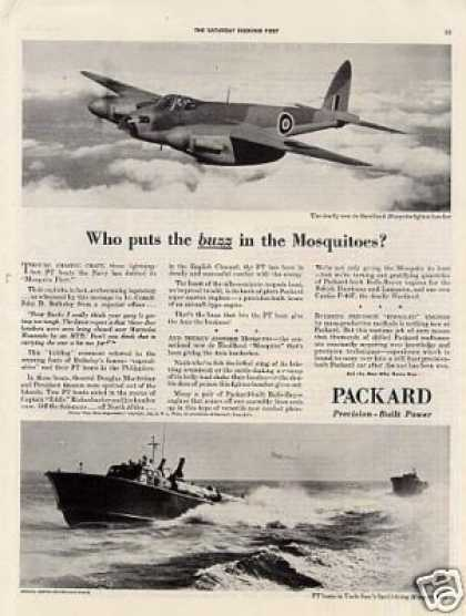 Wwii Packard Ad Mosquito Fighter Bomber/pt Boat (1943)