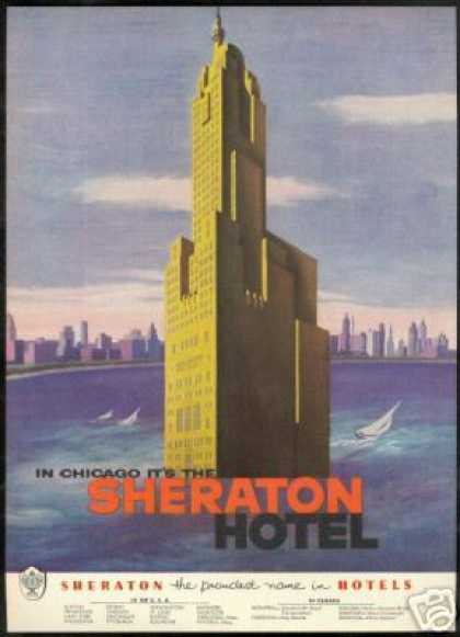 Chicago Sheraton Hotel Sailboat City Art (1953)