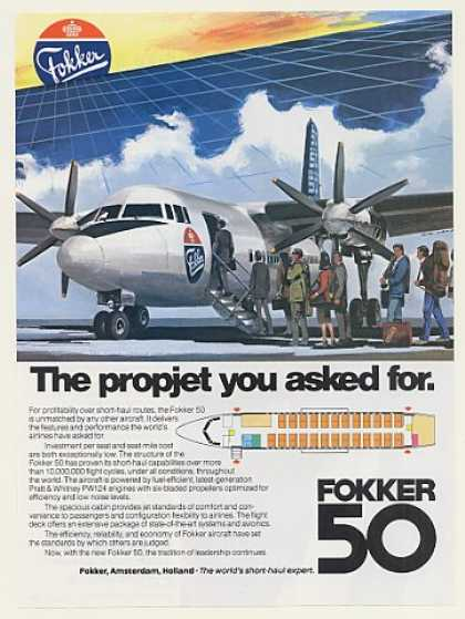 Fokker 50 Propjet Aircraft Airplane (1984)